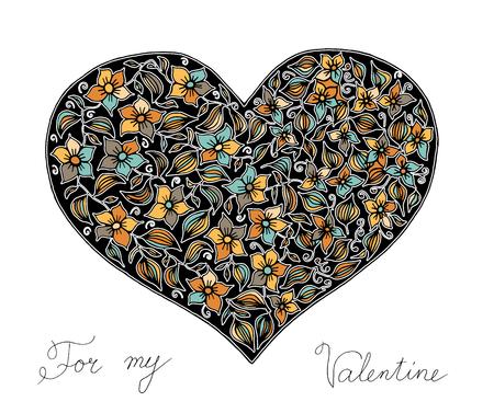 Main coeur dessiné avec motif coloré