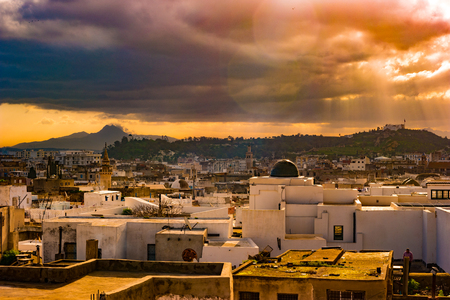 Skyline of Tunis at dawn.