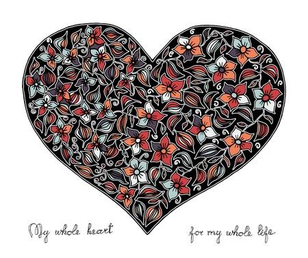 Hand gezeichnet Herz mit bunten Muster