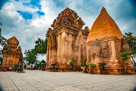 De torens van Po Nagar dichtbij Nha Trang in Vietnam Stockfoto