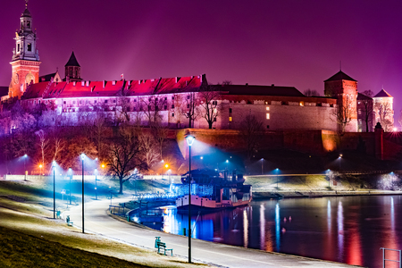 Royal castle of the Polish kings on the Wawel hill Stock Photo