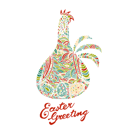 Fashionable Easter chicken colorful illustration card drawn by hand, zentangle style, Decorative design for invitation, flyer, banner.