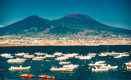 Panorama of Naples, view of the port in the Gulf of Naples,