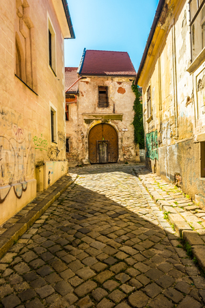 bratislava: A street with traditional buildings in Bratislava, Slovakia. Stock Photo