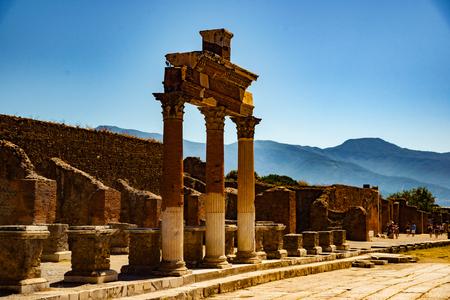 erupting: The famous antique site of Pompeii, near Naples.