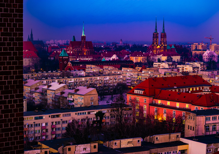 Panorama illuminated old town of Wroclaw at night.