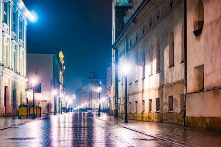 Night street in the Krakow, Poland.