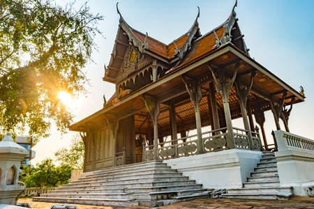 Pavilion built in traditional style near river, Bangkok