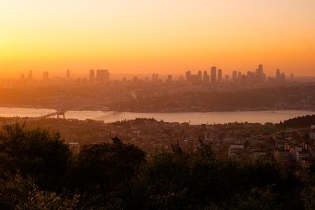 Panorama of Istanbul and Bosphorus bridge, Istanbul, Turkey