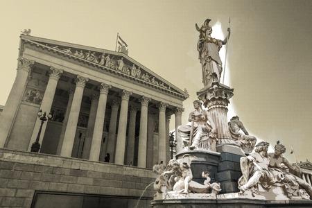 Austrian parliament building with Athena statue Stock Photo