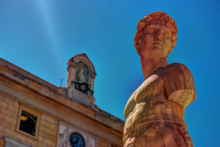 Famous fountain of shame on baroque Piazza Pretoria, Palermo, Sicily Stock Photo