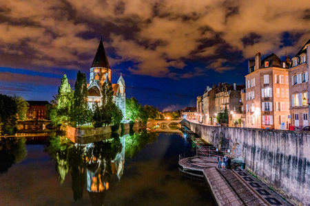 Cityscape with Temple Neuf in Metz