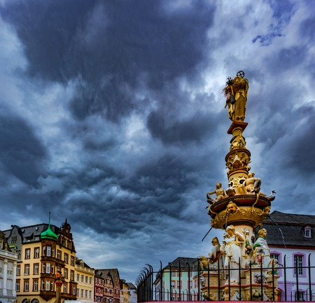 View of Hauptmarkt square in Trier, with historic fountain