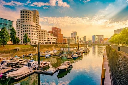 Looking at Media Harbor at Rhine-River in Dusseldorf in Germany.