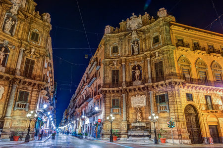 Central square Quattro Canti in Palermo, Italy. Stock Photo