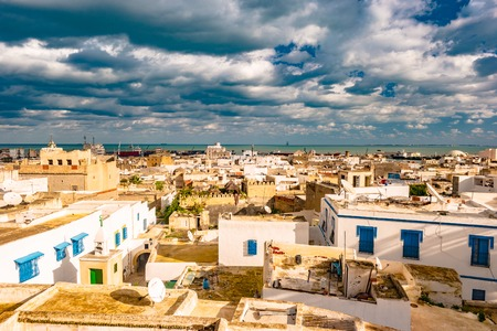 Cityscape of Sousse at dramatic sunset Standard-Bild