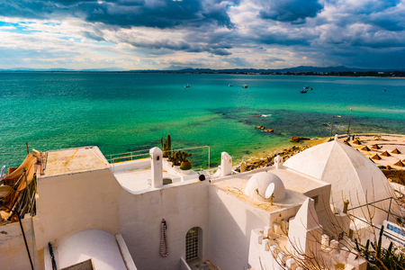 Hammamet, Tunesië. Beeld van architectuur van oude medina