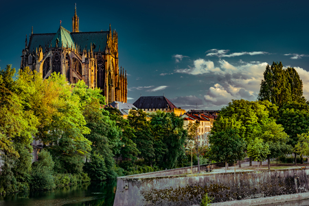 Cityscape with Saint-Etienne Cathedral in Metz Reklamní fotografie