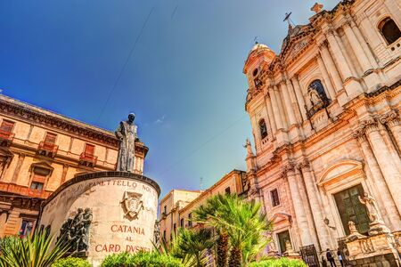 of assisi: Statue of Cardinal Giuseppe Dusmet in front of Saint Francis Church in Catania, Sicily