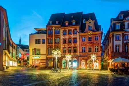 Night streets of Mainz. Historical buildings in night illumination. Beautiful image of famous german city.