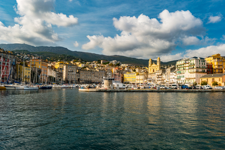 Bastia old city center, lighthouse and harbour. Bastia is second biggest town on Corsica, France, Europe.
