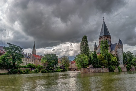 Cityscape with Temple Neuf in Metz, Lorraine, France Stock Photo
