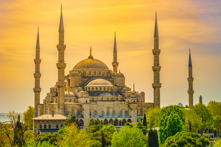 Minarets and domes of Blue Mosque with Bosporus and Marmara sea