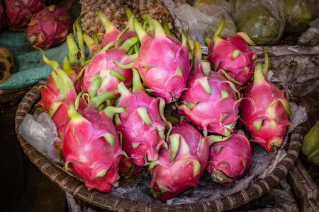 Dragonfruits at a street market basket in Vietnam