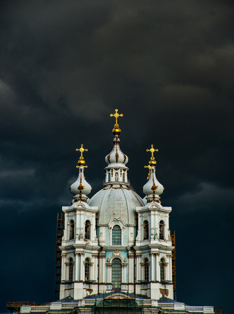 Smolny Cathedral, part of the architectural ensemble of the Smolny Monastery. Saint Petersburg, Russia. Stock fotó