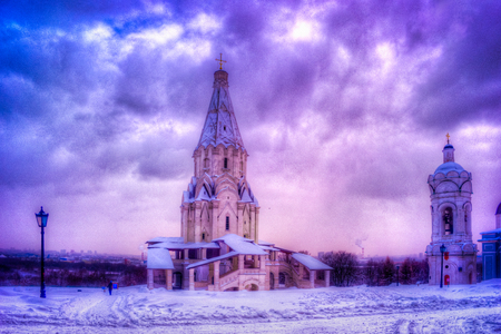 Winter view to Ascension Church after snowfall in Kolomenskoye, Moscow