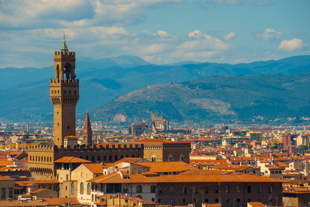 Famous tower of Palazzo Vecchio or Palazzo della Signoria (The Old Palace). Stok Fotoğraf