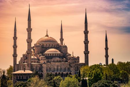 Minarets and domes of Blue Mosque Banco de Imagens