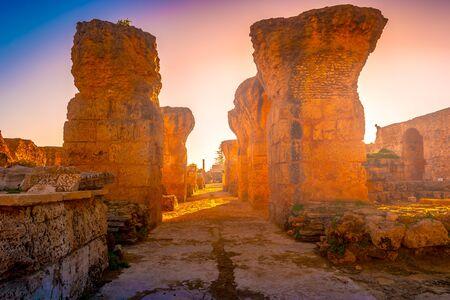 Colorful sunset in Carthage. Baths of Antonius in Carthage, near Tunis, Tunisia