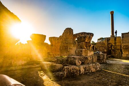Colorful sunset in Carthage. Baths of Antonius in Carthage, near Tunis, Tunisia Reklamní fotografie