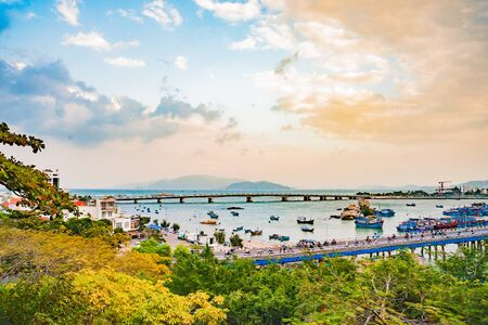 Vietnam. Nha Trang. Cham towers. View of the river Kai and the city Reklamní fotografie
