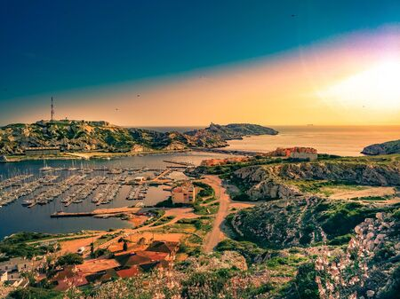 View of Frioul archipelago in Mediterranean sea near Marseille, France. Reklamní fotografie