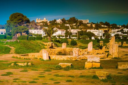 Ruins of Carthage, capital city of the ancient Carthaginian civilization, on the eastern side of the Lake of Tunis in Tunisia