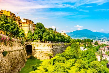 Panoramic view from Citta Alta, old town with the wall of old castle. Bergamo, Lombardy, Italy