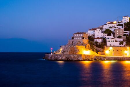 Hydra island on a summer night in Greece. Beautiful landscape with night illumination. Reklamní fotografie