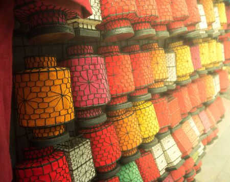 Many colorful chinese lanterns as chinese traditional background texture