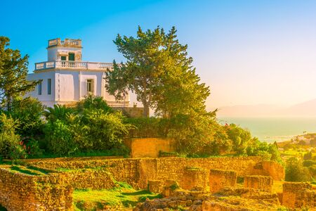 View from hill Byrsa with ancient remains of Carthage and landscape. Tunis, Tunisia. Reklamní fotografie