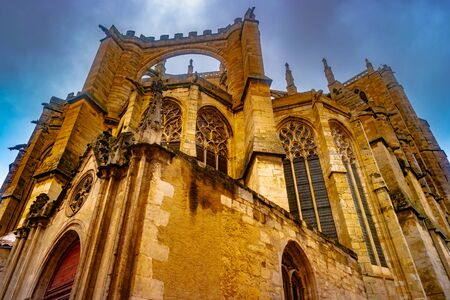 Gothic Cathedral of Narbonne, city in the south of France. Foto de archivo