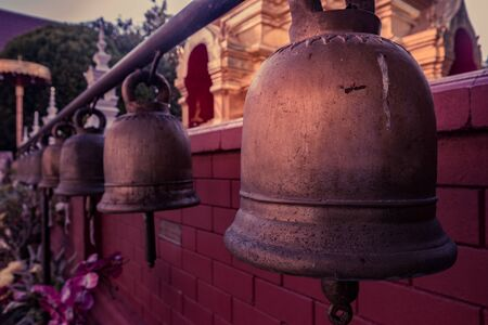 Ritual bells in a Buddhist temple in Chiang Mai, Thailand