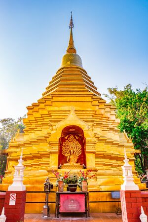 Golden stupa of Buddhist temple in Chiang Mai, Thailand