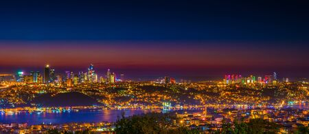 Istanbul night view of the city center. Skyscrapers, hotels and modern office buildings. Istanbul, Turkey. Reklamní fotografie