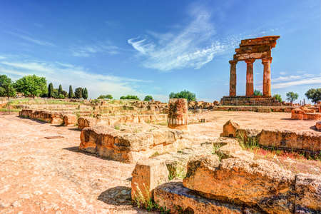 Agrigento, Sicily. Temple of Castor and Pollux one of the greeks temple of Italy, Magna Graecia. The ruins are the symbol of Agrigento city. Reklamní fotografie