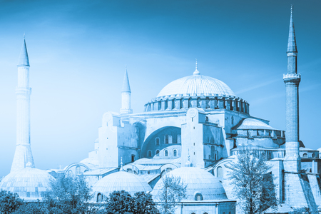 A typical shot of the Hagia Sophia Aya Sofya with a pristine blue sky as its background. Stock Photo