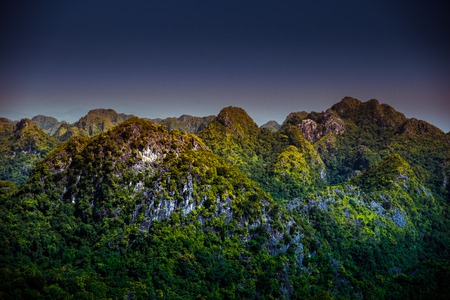 Rocks and mountains of Cat Ba Island in Vietnam. Panoramic landscape. Vietnam, South East Asia.