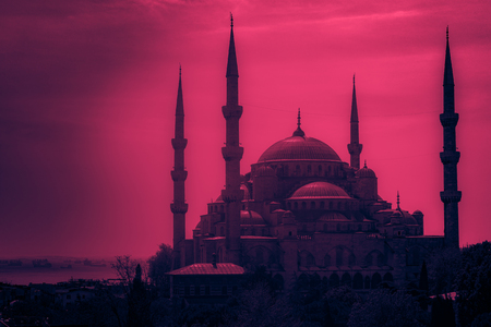 Minarets and domes of Blue Mosque with Bosporus and Marmara sea in background, Istanbul, Turkey. Beautiful landscape at sunset. Archivio Fotografico