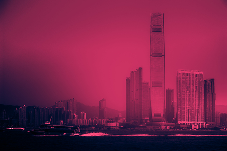 West Kowloon seen from Hong Kong island over Victoria harbor, Hong Kong Archivio Fotografico